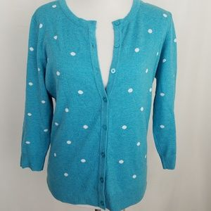 Merona Turquoise Polka Dot Cardigan Large Sweater